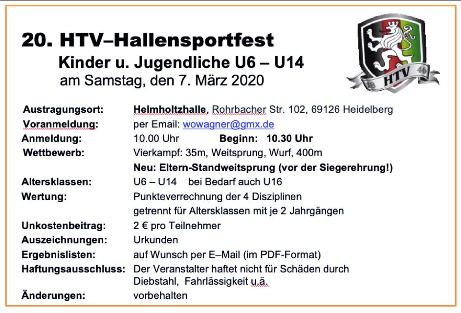 Leichtathletik: Hallensportfest am 07.03.2020