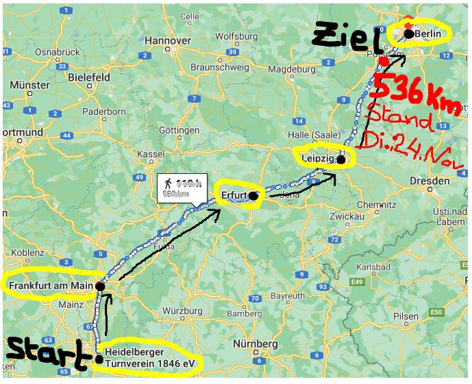 Kilometerlauf nach Berlin, noch 26 km bis zur Ziellinie!